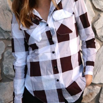 Deep Red Plaid Flap Pockets Long Sleeve Blouse