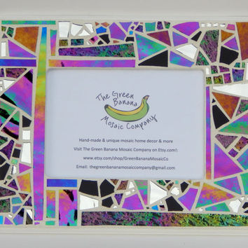 "Mosaic Picture Frame,  5"" x 7"" Picture Size, Iridescent + Textured Glass + Silver Mirror, Handmade Stained Glass Mosaic Design, Wall Frame"