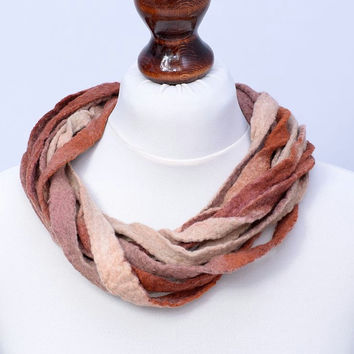 Brown & beige twist multistrand fiber necklace - twisted multi strand necklace made of felt strips [N91]