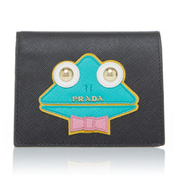 Appliquéd Textured-Leather Wallet | Moda Operandi