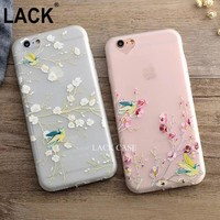 High Quality For iPhone 6 6S 6Plus 6SP Hot 3D branch Bird Relief Phone Back Cover Flowers Cases Soft TPU Transparent Phone Case