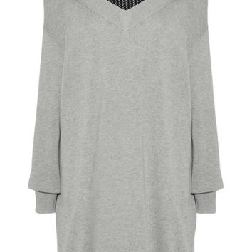 T by Alexander Wang - Layered open-knit and cotton-blend mini dress