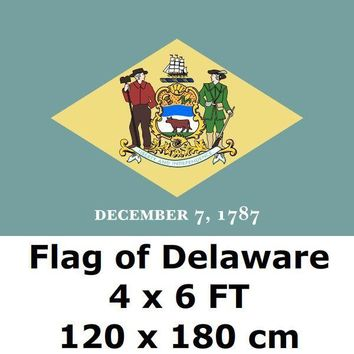 Delaware Flag 4` x 6` FEET 100D Polyester State of US USA American United States Flags and Banners For Home Decoration