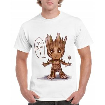Anime T-shirt graphics 2018 men t-shirt Star War Anime baby pop groot Summer funny I AM GROOT T Shirt Male Cool Tops Tees Homme Tshirt Plus XXXL AT_56_4