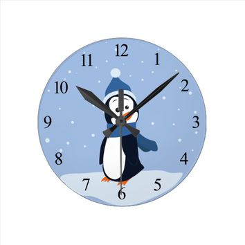 Penguin (with numbers) round clock