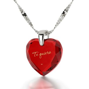 """""""I Love You"""" in Spanish, 925 Sterling Silver Necklace, Cubic Zirconia"""