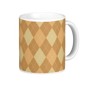 Brown Argyle Like Pattern Coffee Mug