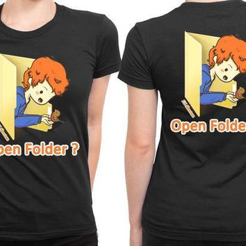 CREYP7V Ed Sheeran Cartoon Open Folder 2 Sided Womens T Shirt