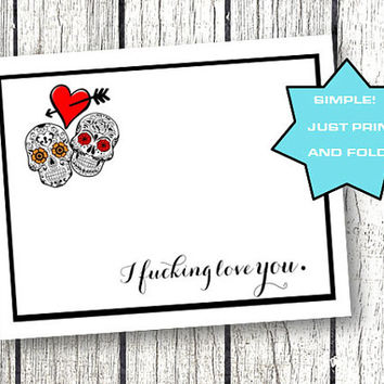 Valentines Day Card for him her funny naughty sugar skulls rockabilly boyfriend girlfriend heart black and red foldable printable download