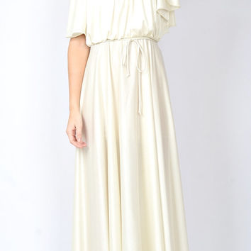 Vintage 70s Ivory Draped Boho Goddess Dress Maxi Cutout Floral Lace Cocktail S M