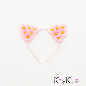 Pink Cat Ear Headband, Floral Cat Ears, Coachella Crown, Electric Daisy Carnival, Ultra Music Festival, Lollapalooza, Electric Zoo, PLUR