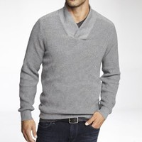 SHAWL COLLAR SHAKER KNIT SWEATER