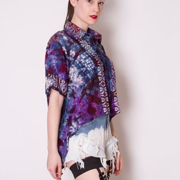 Vintage 1990s reconstructed tie dye galaxy high low fishtail button down blouse shirt