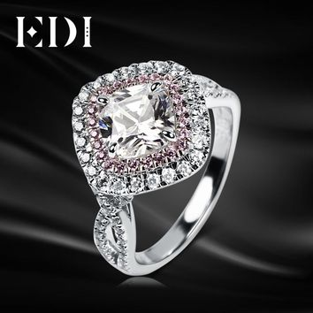 14KT White Gold Lab Grown Diamond Pink Sapphire Ring