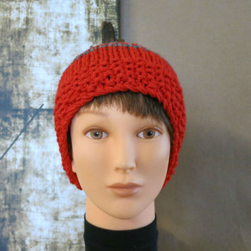 Knit Hat, Mens Womens Wool Beanie, Skull Cap, Hand Knit, Winter, Red And Grey School Beanie, Australia.