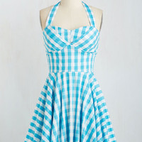 Pinup Mid-length Halter Fit & Flare Traveling Cupcake Truck Dress in Aqua Gingham