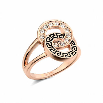 Brand TracysWing Rings for women Genuine Austrian Crystals Gold Color Fashion ring for men New Sale wedding rings  #RG95639Rose