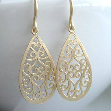 Arriana Earrings, Gold Ornate Filigree Teardrop Earrings