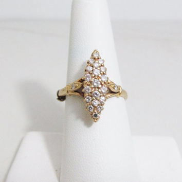 Vintage Ring: 14k Gold and Diamond Cocktail Ring