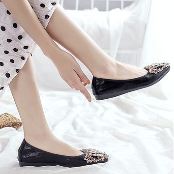 Summer Pointed Close Toe Oxford Rhinestone Flats