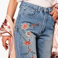 Petite Emily Embroidered Mom Jean | Boohoo