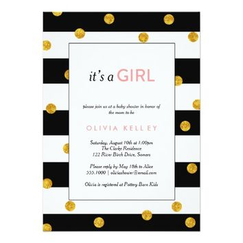 It's A Girl Black and Gold Shower Invitation
