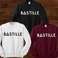 Bastille Sweater Black Maroon and White Sweatshirt Crewneck Men or Women Unisex Size