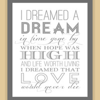 Les Miserables I DREAMED a DREAM Quote modern print poster 8x10