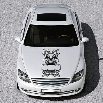 SKULL WITH CROSS MONSTER HOOD CAR VINYL STICKER DECALS MURALS SV2374
