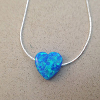 Heart opal necklace, dark blue heart opal necklace, sterling silver 925 necklace, Valentine Day jewelry - October birthstone