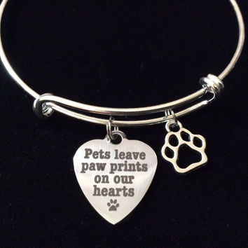 Pets Leave Paw Prints on our Heart Charm on a Silver Expandable Adjustable Wire Bangle Bracelet Meaningful Gift Animal Lover Gift
