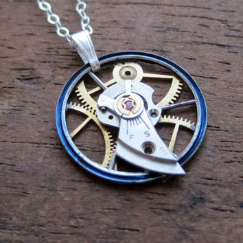 "Clockwork Pendant ""Verge"" Recycled Mechanical Watch Gears and Intricate Sculpture Wearable Art Not Quite Steampunk Assembly Necklace"
