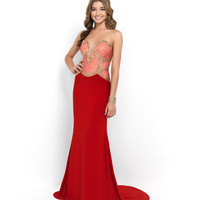 Red Valentine & Gold Strapless Plunging Sweetheart Beaded Bodice Jersey Dress