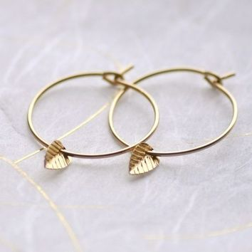 Tiny leaf hoops - gold filled small simple earrings - edor