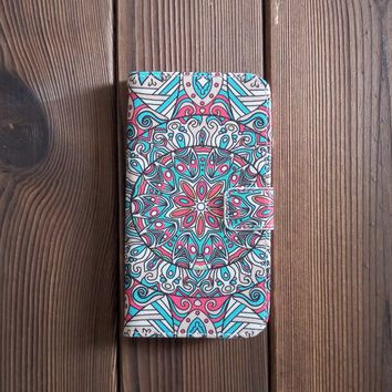 Bohemian Leather Flip Wallet Case for Galaxy S5