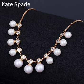 Kate Spade Fashion New More Pearl Diamond Personality Necklace Women Gold