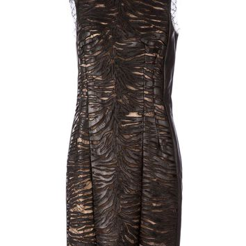 Alexandre Vauthier lace panel lambskin dress