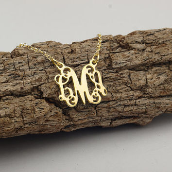 Monogram Necklace - Small 18K Yellow Gold Plated Monogram Necklace