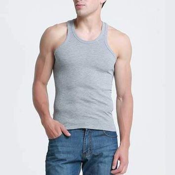 Mens Sexy Basic Training Tops Cotton Sports Fitness Vest Solid Color Skinny Tank Tops
