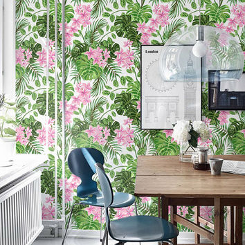 Fern and Hibiscus Print Wallpaper - Removable Wallpaper - Monstera leaves Wall Sticker - Hibiscus and Monstera Leaf Self Adhesive Wallpaper