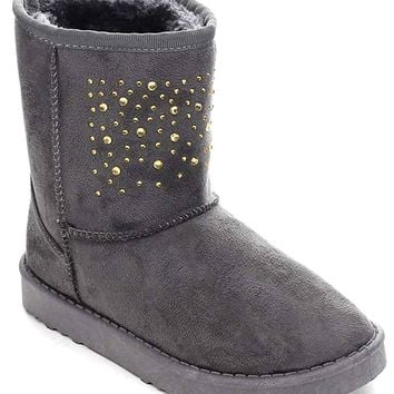 Grey Rivet Vegan Shearling Suede Fleece Women's Flat Boot