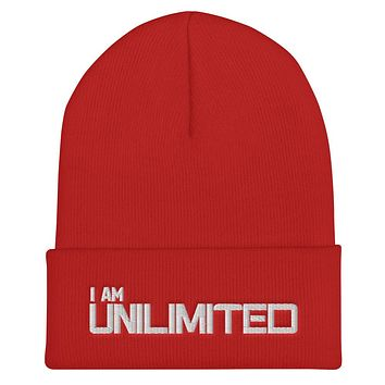 """""""I AM UNLIMITED""""  Positive Motivational & Inspiring Quoted Embroider Cuffed Beanie"""