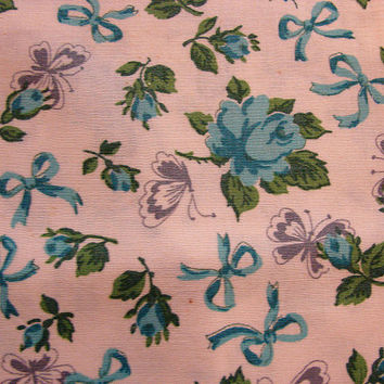 1940s Old Feedsack Fabric Floral Print  Blue Roses with Butterflies, Bows Cotton Feed Sack
