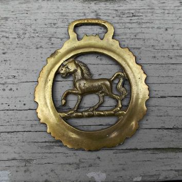 English Horse Bridle Rosette Vintage Brass