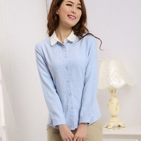 Kawaii Lolita Embroidery Collar Slim Fit Long Sleeve Blouse - Light Yellow, Sky Blue or White - S M L XL from Tobi's Finds