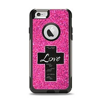The Love is Patient Cross over Pink Glitter print Apple iPhone 6 Otterbox Commuter Case Skin Set