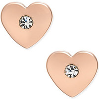 kate spade new york Rose Gold-Tone Crystal Heart Stud Earrings