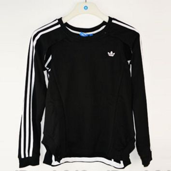 adidas Originals Women Sports Casual Personality Design Sense Black Knitted Sweater Pullover Sweatshirt
