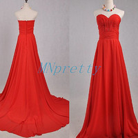 Long Red Sweetheart Bridesmaid Dresses,Red Prom Dresses 2015,Long Homecoming Dresses,Party Dresses,Evening Dresses