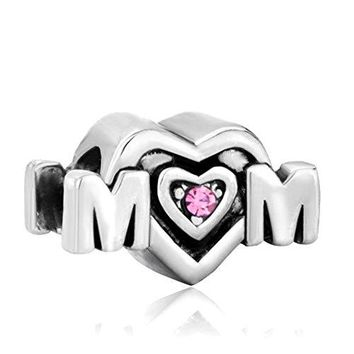 Mom Mother Charms Pink Crystal Heart Love Mom Sale Cheap Jewelry Bead Fit Pandora Bracelets